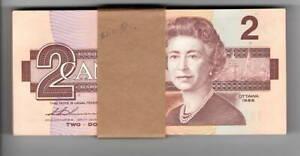 Canada Consecutive bundle $2 Dollars 1986 P-94b UNC Thiessen-Crow BRV Banknote