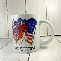 Vintage Halston Patriotic Fashion Models and Flag Coffee Tea Cup Two Sided