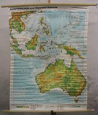Schulwandkarte Wandkarte Karte Australien Südostasien HongKong 99x130cm 1992 map