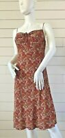 Ann Taylor Loft Orange Paisley Spaghetti Strap Sleeveless Dress Size 6  Floral