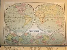 VINTAGE MAPS 1872 HC MONTEITH'S COMPREHENSIVE GEOGRAPHY BOOK NEW YORK EDITION
