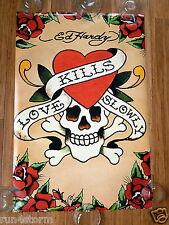 "Love Kills Slowly Valentine Skull ED HARDY Tattoo PYRAMID 24"" x 36"" Poster"