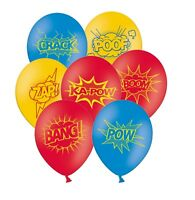 """Superhero Collection 12"""" Assorted with Red Latex Balloons 6 ct by Party Decor"""