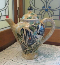 Vallauris Decor Main French Pottery Coffee Serving Pot Hand Made Hand Painted