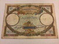 Banque De France. France Banknote. 50 Francs. Dated 1934. French Vintage Note