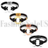 Double Leather Bracelet Handmade Men Women Round Circle Ring Wristband Bangle