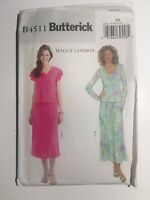 Butterick Pattern B4511 Maggy London Misses Top and Skirt Sizes 8 10 12 14 Uncut