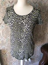 ladies 6 t-shirt top Next Animal Leopard Yellow Neon Black short sleeve