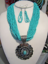 Multi Strand Turquoise Glass Seed Bead Silver Tone Oval Pendant Necklace Earring