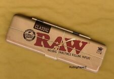 RAW Rolling Papers KING SIZE SLIM Metal Tin Storage Case - PROTECT YOUR SHEETS!