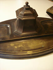 Original desk set Art Nouveau Bronze inkwell with glass & blotter very stylish