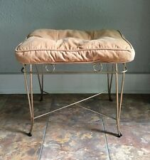 Vintage Gold Tone Metal Vanity Bench Stool MCM Hollywood Regency Style