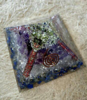 Big Orgone Pyramid Amethyst- Lapis Lazuli - Moldavite - Crystal Natural Stone