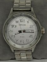 Fossil AM4342 Women's Silver Stainless Steel Analog Dial Wrist Watch Ee147