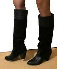 KG Kurt Geiger Ladies Sexy Knee Long Boots 7 40 Real Leather & Suede Mid Heel