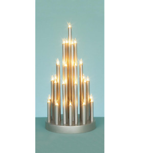 Silver Candle bridge Welcome Candle Lights 33cm Christmas Xmas Window Decoration