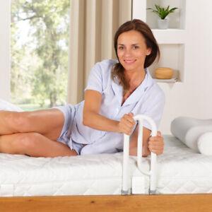 Bett Aufstehhilfe Bettgriff Aufrichter höhenverstellbarer Haltegriff Stahl weiß