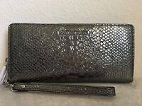 NWT!! MICHAEL KORS Money Pieces Travel Continental Embossed Leather Wallet Pewte