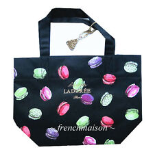 LADUREE French Tote Bag Handbag + Macaron Charm/Keychain Paris New U.S. SELLER