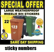 "Available In 7 Colours - 6"" Wheelie Bin Numbers Stickers Self Adhesive Stick On"