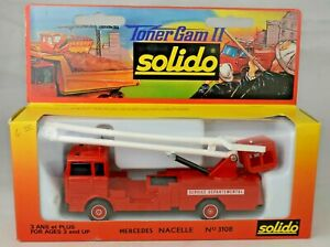 """Solido France #3108 Mercedes Bucket Fire Truck 6 7/8"""" Long Mint With Box"""