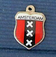 AMSTERDAM ~ Vintage Silver Enamel Travel Shield Charm
