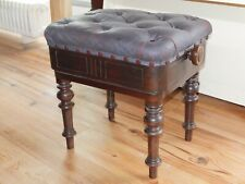 More details for antique brooks piano stool buttoned leather adjustable height removable legs