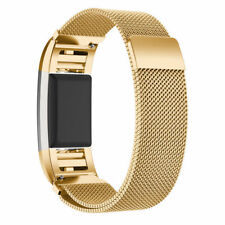 Gold Magnetic Stainless Steel Bands Replacement Wristband for Fitbit Charge 2