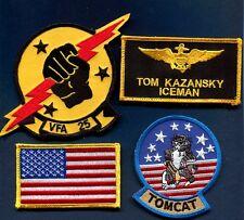 TOM ICEMAN KAZANSKY TOP GUN MOVIE Costume F-14 Squadron Name Tag Patch Set