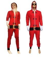 Adult Unisex Christmas Xmas Bed Sleep Pajamas 0nesie Costume ELF Santa Red UK
