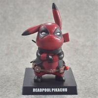 14cm Anime Pokemon Pikachu Cosplay Deadpool PVC Figure Statue Anime Toy Hero