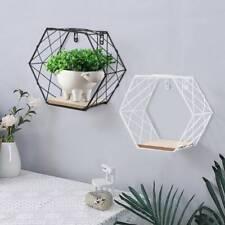 Geometric Hexagon Wall Wire Shelf Storage Holder Wood Rack-Shelves Trelli Design