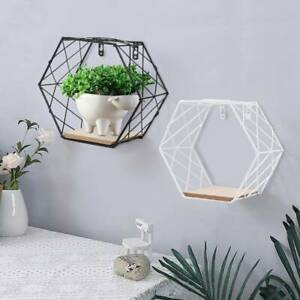 Geometric Hexagon Wall Wire Shelf Storage Holder Wood Rack-Shelves Trelli Design