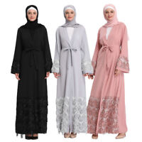 Dubai Sequin Muslim Women Open Cardigan Robe Dress Abaya Jilbab Long Maxi Gown