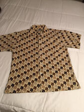Clench Jeans Mens Casual Shirt XL Brown Short Sleeve Button Front Tony Jones Pro