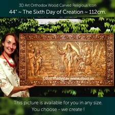 Sixth day of Creation Wood Carved 3D Artwork icon picture bible orthodox