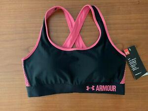 $40 Under Armour Women's Mid Crossback Compression Sports Bra, Black/Pink Sz L