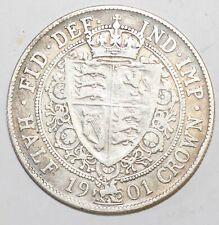 More details for 1901 victoria sterling silver halfcrown fine condition