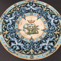 Ulysse Blois  Blue French Faience Plate w Dragons Signed E (Emile) Balon Antique