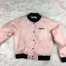 Forever 21 Women's Bomber Jacket Pink Satin Baseball California Girls Club Large