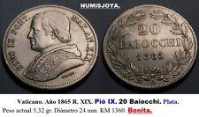 VATICANO. Año 1865 R. XIX.  Pió IX. Bonitos 20 Baiocchi Plata. Peso 5,32 gr.