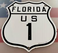 VINTAGE FLORIDA US 1 PORCELAIN SIGN GAS 1926 SERVICE STATION HIGHWAY ROUTE 66