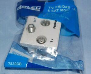 ARLEC TV, FM/DAB & SAT Module 7830GB White Triplex  New