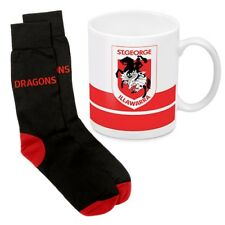 125054 ST GEORGE DRAGONS NRL 330ML COFFEE MUG AND KNIT ADULT FIT SOCKS GIFT PACK