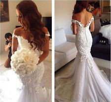 New Mermaid White/ivory Wedding dress Bridal Gown custom size 4 6-8-10-12-14-16+