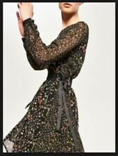Reserved Dress Black Floral  with Tie Waist UK 6 EU 34 LN096 SS 13