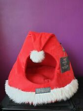 Cat Puppy Pet Gear Bed House Nandog Red Cushion Cave Christmas Santa Hat New