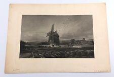 David Cox The Windmill Antique Engraving After E P Brandard 1880 Farm Landscape