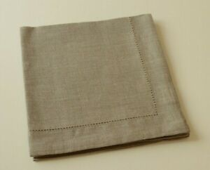 "SET of 4 Natural LINEN Taupe Dinner Napkins With Hemstitch 18.5"" x 18.5"""