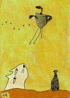 21041603 e9Art ACEO Cat Whimsical Outsider Folk Art Painting Original Surrealism